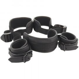 Fetish Submissive Neck, Handcuffs & Leg Belt Vegan Leather