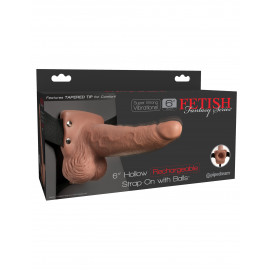 """Fetish Fantasy 6"""" Hollow Rechargeable Strap-On with Balls Tan"""
