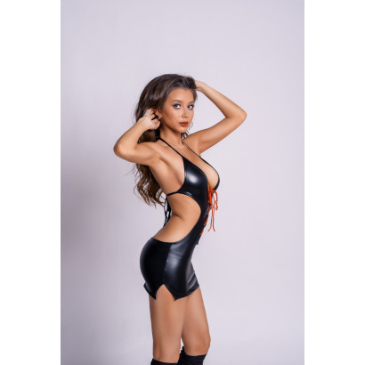 Glossy Wetlook Dress with Plunging Neckline