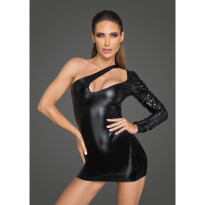 Noir Handmade F199 Asymmetrical Powerwetlook Minidress