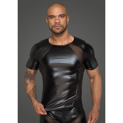 Noir Handmade H056 Men's T-Shirt Made of Powerwetlook with 3D Net Inserts