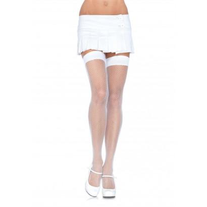 Leg Avenue Nylon Fishnet Thigh Highs 9011 - Thigh Stockings White