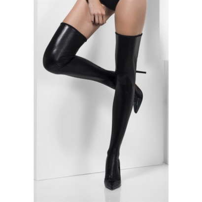 Fever Wet Look Hold-Ups 45375 - Hold-Ups Black