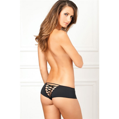 René Rofé Crotchless Lace Up Back Panty Black