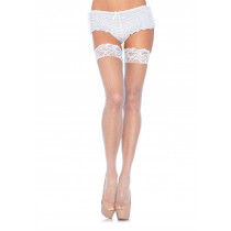 Leg Avenue Stay Up Fishnet Thigh Highs 9122 - Thigh Stockings White
