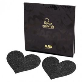 Bijoux Indiscrets Flash Heart Black - Ornaments For Nipples