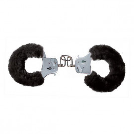 Toyjoy Furry Fun Cuffs - Plush Black Metal Handcuffs