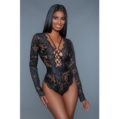 Be Wicked Ramona Long Sleeved Lace Bodysuit Black