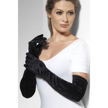 Fever Velveteen Gloves 22546 - Black Velvet Gloves