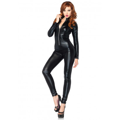 Leg Avenue Wetlook Catsuit 85047 Black