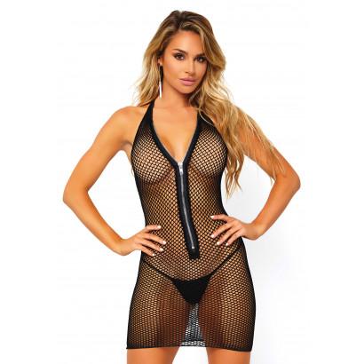 Leg Avenue Fishnet Zip Up Mini Dress 86086 Black