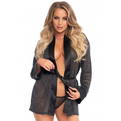 Leg Avenue Lurex Robe, Tie & String 86120 Black
