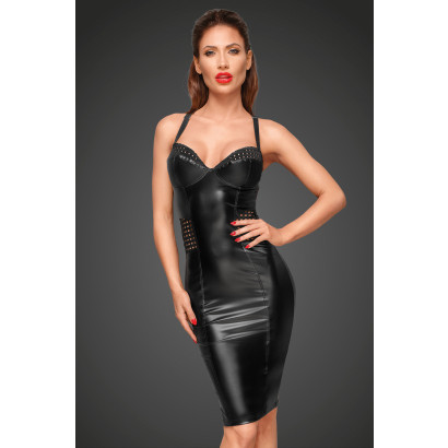 Noir Handmade F180 Powerwetlook Dress with Chequered Tape Inserts on The Waist and Bust