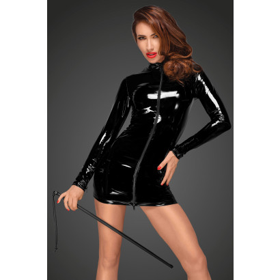 Noir Handmade F187 PVC Mini Dress with Black 3-way Zipper in The Front