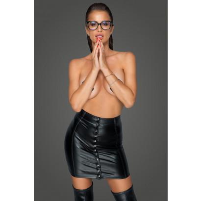 Noir Handmade F226 Fantastic Powerwetlook Skirt with Button Tape
