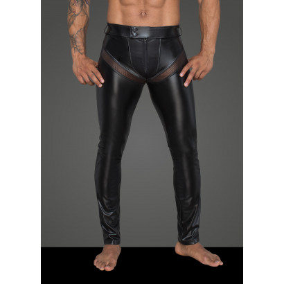 Noir Handmade H059 Men's Powerwetlook Long Pants with Inserts and Pockets Made of 3D Net
