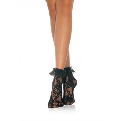 Leg Avenue Lace Anklet With Ruffle 3030 - Black Lace Socks