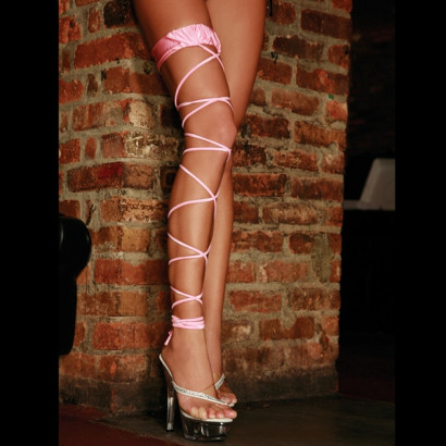 Electric Lingerie Twisted Leg Garter - Pink Lace Garter