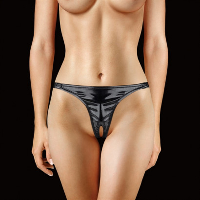 Ouch! Adjustable Panty - Thong with Mini Vibrator Black