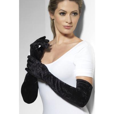 Fever Velveteen Gloves 22546 - Zamatové rukavičky Čierna
