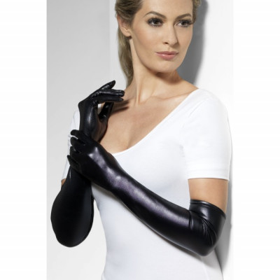 Fever Wet Look Gloves 44039 - Wetlook rukavičky Čierna