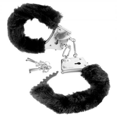 Fetish Fantasy Beginner's Furry Cuffs - Plyšové kovová putá Čierna