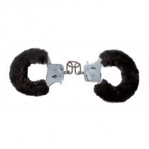 Toyjoy Furry Fun Cuffs - Plyšové kovová putá čierna