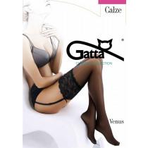 Gatta Venus - Pančuchy na podväzkový pás Nero Čierna