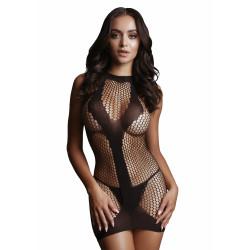 Le Désir Net Contrast Mini Dress Black