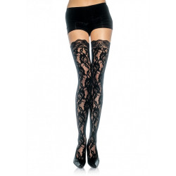 Leg Avenue Rose Lace Stockings 9762 - Samodržiace pančuchy