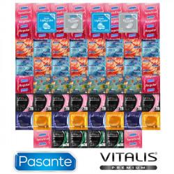 Vánoční Balíček hrejivých, chladivých a svietiacich kondómov - 62 kondómov Pasante a Vitalis Premium + 4 lubrikačné gély Pasante ako darček