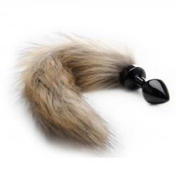 Ouch! Fox Tail Buttplug Black - Análny kolíček s líščím chvostíkom Čierna