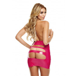 LatexWear Latex Mini Skirt with Open Back Pink