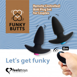 FeelzToys FunkyButts Remote Controlled Butt Plug Set for Couples