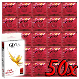 Glyde Slimfit Strawberry - Premium Vegan Condoms 50 pack