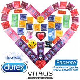 Luxusný Maxi Balíček - 55 kondómov Durex, Pasante a Vitalis + lubrikačný gél + vibračný krúžok
