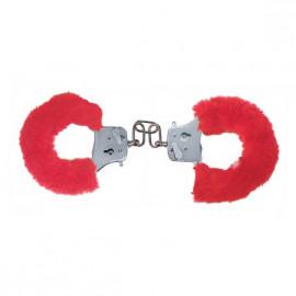 Toyjoy Furry Fun Cuffs - Plyšové kovové putá červená