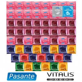Akčný Balíček extra tenkých kondómov - 61 kondómov Pasante a Vitalis Premium + lubrikačné gély Pasante ako darček