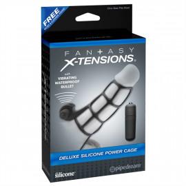 Pipedream Fantasy X-tensions Deluxe Silicone Power Cage - Vibračný silikónový návlek na penis