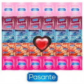 Pasante Mix pre každú príležitosť - 30 kondómov Pasante + srdiečkový kondóm ako darček