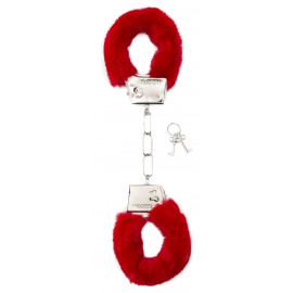 Shots Toys Furry Handcuffs Red