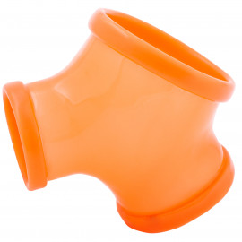 Toylie Latex Sleeve with Penis and Testicle Ring Gil Neon Orange