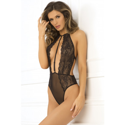 René Rofé Hot Pursuit Lace Bodysuit Čierna