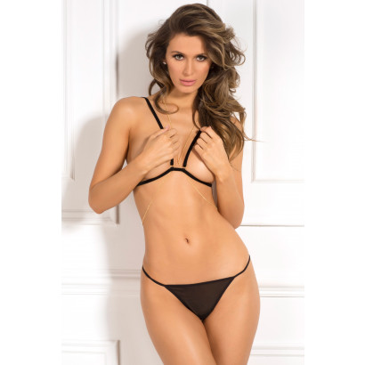 René Rofé 3pc Chain Reaction Bra Set Čierna