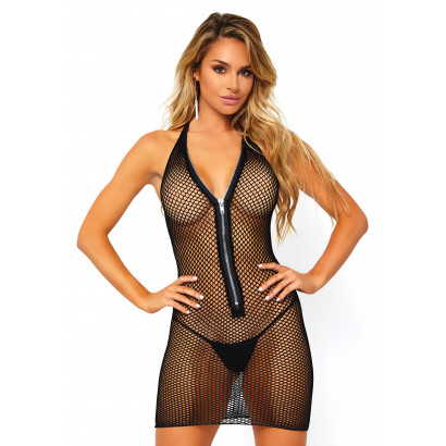 Leg Avenue Fishnet Zip Up Mini Dress 86086 Black