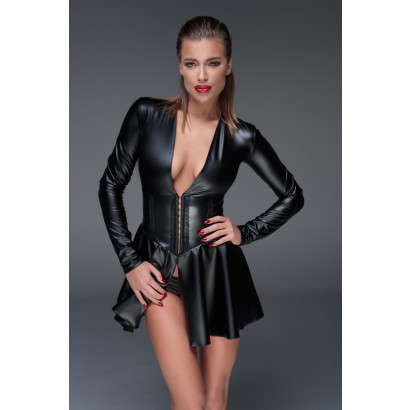 Noir Handmade F154 Powerwetlook Long Sleeve Minidress with Corset