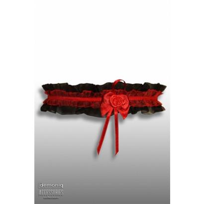 Demoniq Čipkovaný Podväzok s ružičkou Čierna