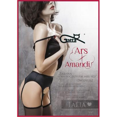 Gatta Ars Amandi Talia - Pančuchové nohavice s podväzkami Nero