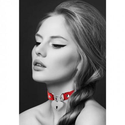 Bijoux Pour Toi Necklace Metal Heart Padlock Red