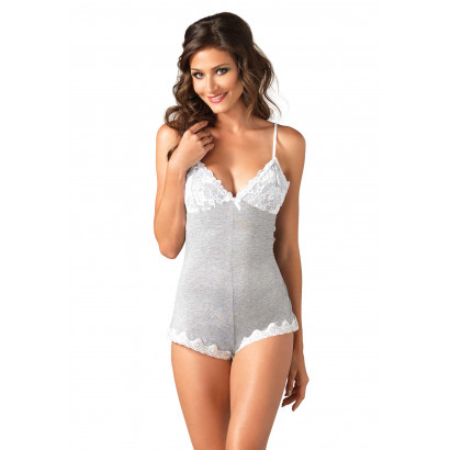 Leg Avenue Seraphina Lace And Brushed Jersey Teddy SE8864 Bílo-Šedá